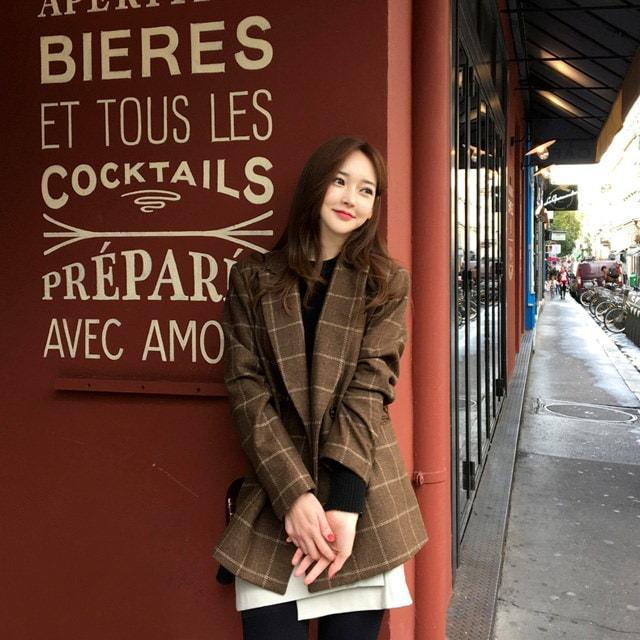 プレゼントしたいチェックのジャケットkorean fashion style