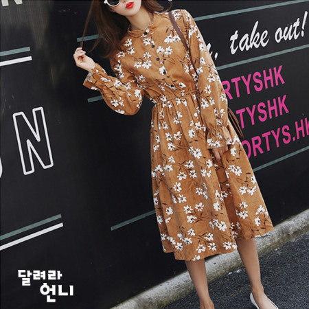 コーデュロイブラウンワンピース薄いが柔らかく暖かいコーデュロイ素材のワンピースkorea fashion style