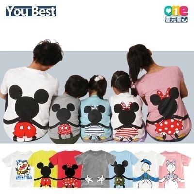 かわいい ディズニーキャラクター親子ペアルック Tシャツ 韓国ファッション 親子お揃いtシャツ ミッキーtシャツ ミニー 子供服 キッズ大人tシャツ メンズ レディ