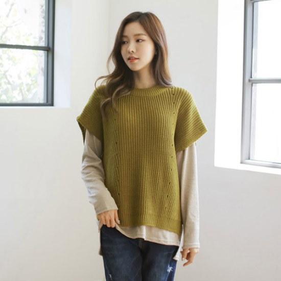 ジャストウォンドロップニットベスト ベセチュウ / ニット・ベスト/ 韓国ファッション