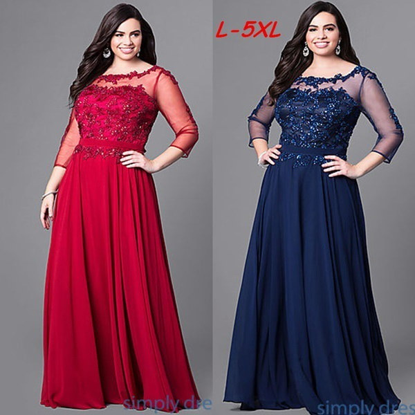 Plus Size Women s Fashion Long Prom Dress with Beaded Lace and Sleeves M-5XL WZD3456