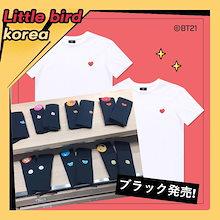 ▶最後の割引【E-LAND HUNT x BT21】 BT21 公式 tシャツ 半袖 / 2枚が1セット/ホワイト/ブラック