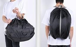 【タイムセール】2way リュックタイプ&手持ちタイプ 折りたたみ防水 エコバッグ チャック付き 買い物袋 レジカゴバッグ フリーサイズ 耐荷重:約10Kg 寸法:約30*25cm