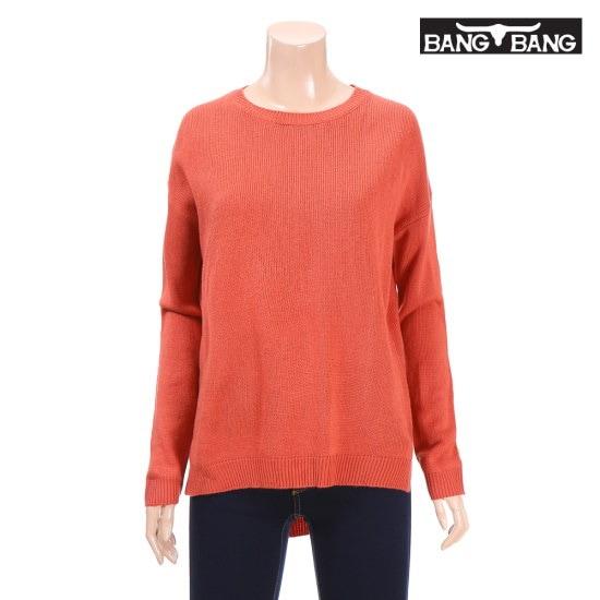 くるくるくるくる女性ソリッドルーズフィットプルオーバー珊瑚 ニット/セーター/ニット/韓国ファッション
