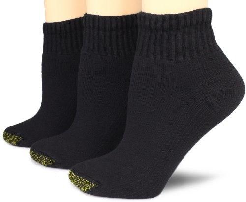 Gold Toe Womens 3 Pack Ultratec Quarter Socks, Black, 9-11