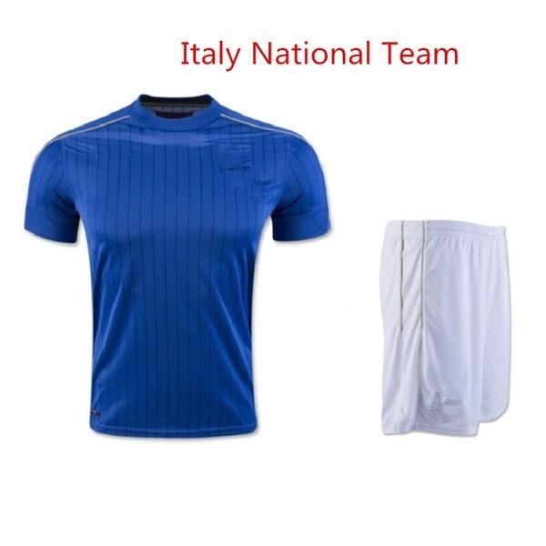 イタリアのナショナルチームホームジャージーサッカー制服フットボールスーツTシャツ+ショーツ