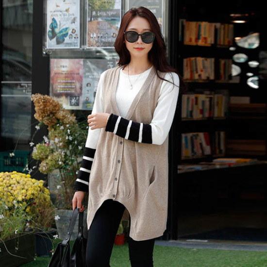 シーフォックスポキビボタン・ニットベスト ベセチュウ / ニット・ベスト/ 韓国ファッション