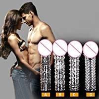 ペニスサック コンドーム 陰茎袖 摩擦増加 イボ付き シリコン製 陰茎スリーブ4セット