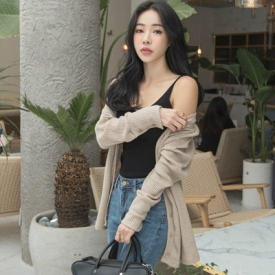 ホワイト・フォックス袖ボタンブイネクゴルジカディゴン ニット/セーター/ニット/韓国ファッション