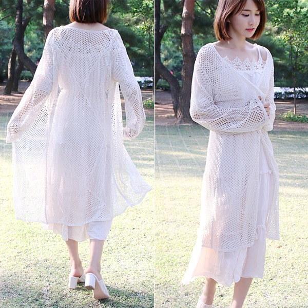 網ロングカディゴンnew 女性ニット/カーディガン/韓国ファッション