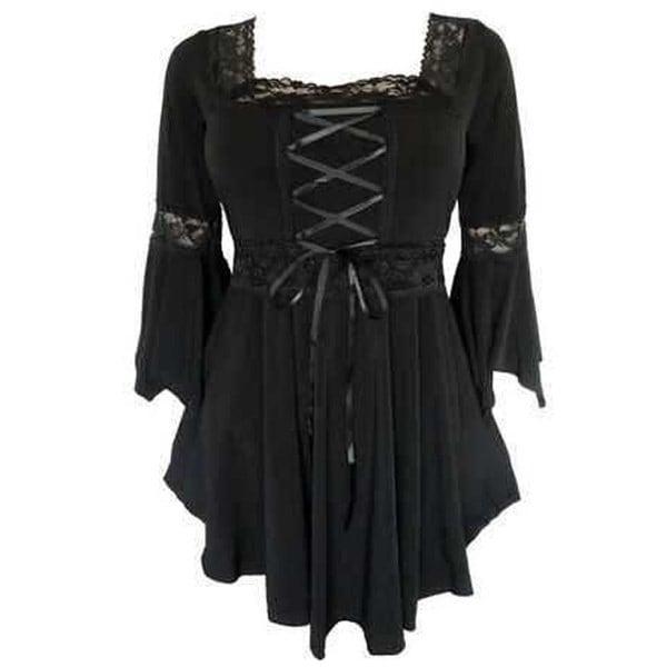 レディースレトロヴィクトリアンフリルロングスリーブトップブラウスショートドレス