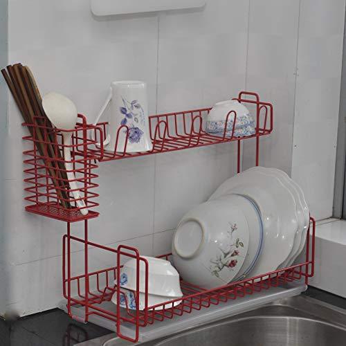 食器乾燥ラックトレイ2層Classicoコンパクトキッチン食器水切りラック付きカトラリーホルダーバスケット用ガラス、銀器、ボウル、プレート (赤)