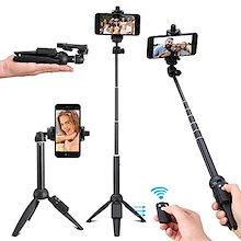 Penvila 自撮り棒 三脚 自撮り棒無線 セルカ棒 Bluetooth ワイヤレスリモコン コンパクト アルミ三脚 100cm 伸縮自在 多機能 360度回転 折り畳み式 軽量iPhone X/8