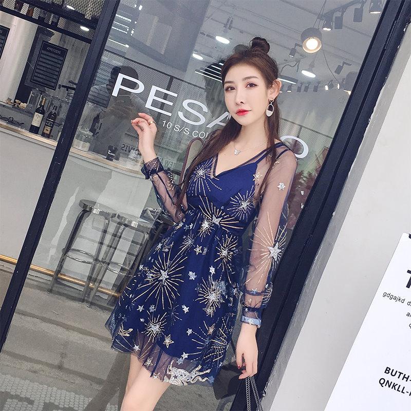 ★韓国ファッション 2018 春新作 ★ レースワンピース 結婚式 ワンピース 二次会ブラック フォーマル パーティードレス 花柄 大人 披露宴