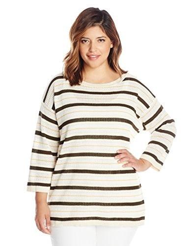 Jones New York Womens Plus-Size Boat Neck Pullover Top, Olive/Multi, 0X