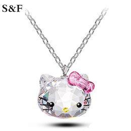 韓国のCCアニメネックレスピンクのクリスタルネックレスかわいい猫ハローキティペンダントネックレス女性のためのファッション猫の宝石ギフト