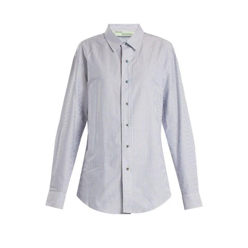 オフ-ホワイト レディース トップス ブラウス・シャツ【Point collar striped oxford-cotton shirt】Sky-blue