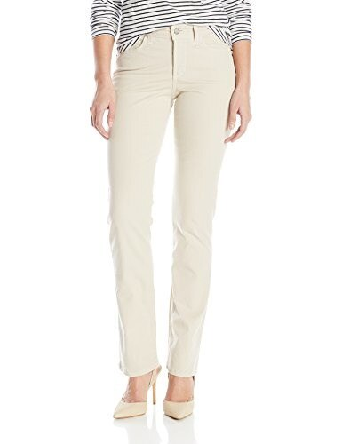 NYDJ Womens Marilyn Straight Jeans In Peached Stretch Twill, Stone, 8