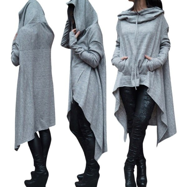男性/女性スタイリッシュなロングパーカーローブドローストリングセーターフード付きトップスLUN