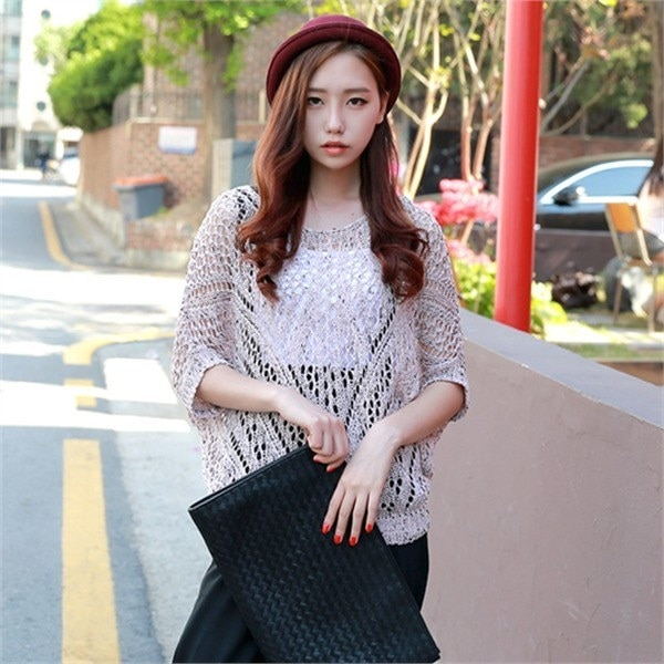kt219 3Gのマオリ夏ニットビーチウェアデイリーシースルー網タイツnew 女性ニット/ Vネックニット/韓国ファッション
