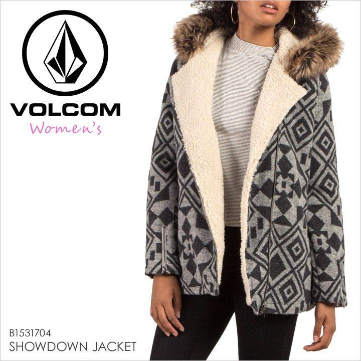 アウター レディース VOLCOM SHOWDOWN JACKET - B1531704 【 ボルコム ジャガードジャケット ウィメンズ ファー ロゴ ネイティブ 柄 サーフ スケート ストリート 1