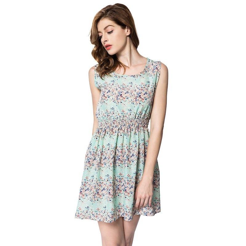カジュアルスクープカラーノースリーブ小さな花プリント女性のドレス