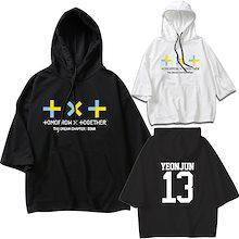 Tomorrow X Together 韓国TXT グッズ Tシャツ 夏 7分袖 男女兼用 衣装 ダンス服 フード付き パーカー t-shirts おしゃれ  カットソー トップス プルオーバー