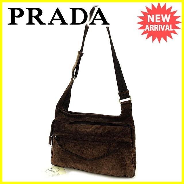 プラダ PRADA ショルダーバッグ ワンショルダー レディース メンズ 可   ブラウン スエード×レザー×メッシュ 人気 セール 【中古】 T2801 .