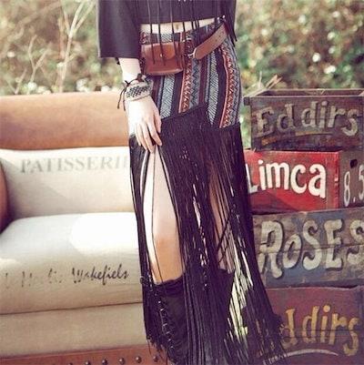 レディースロングスカート ボトムス ファッション プリント タッセル ボヘミア風 きれいめ 着心地よい お洒落 夏 レディースロングスカート