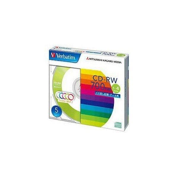 三菱ケミカルメディア SW80QM5V1 データ用CD-RW 700MB 4倍速対応 カラーミックス 5枚