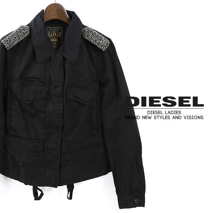 ディーゼル DIESEL ミリタリージャケット 春物 レディース シルク切替 ビジュー 刺繍 エポレット 2way フィールドジャケット G-CHLIO