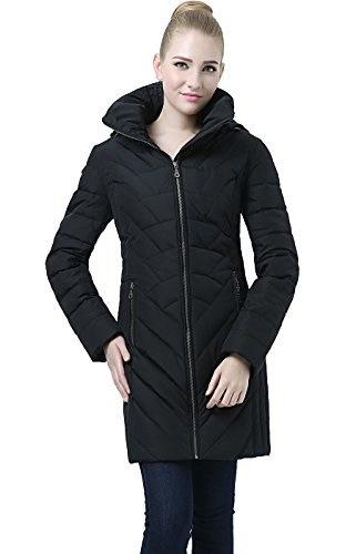 """BGSD Womens """" Avery""""  Hooded Waterproof Down Coat - Black S"""