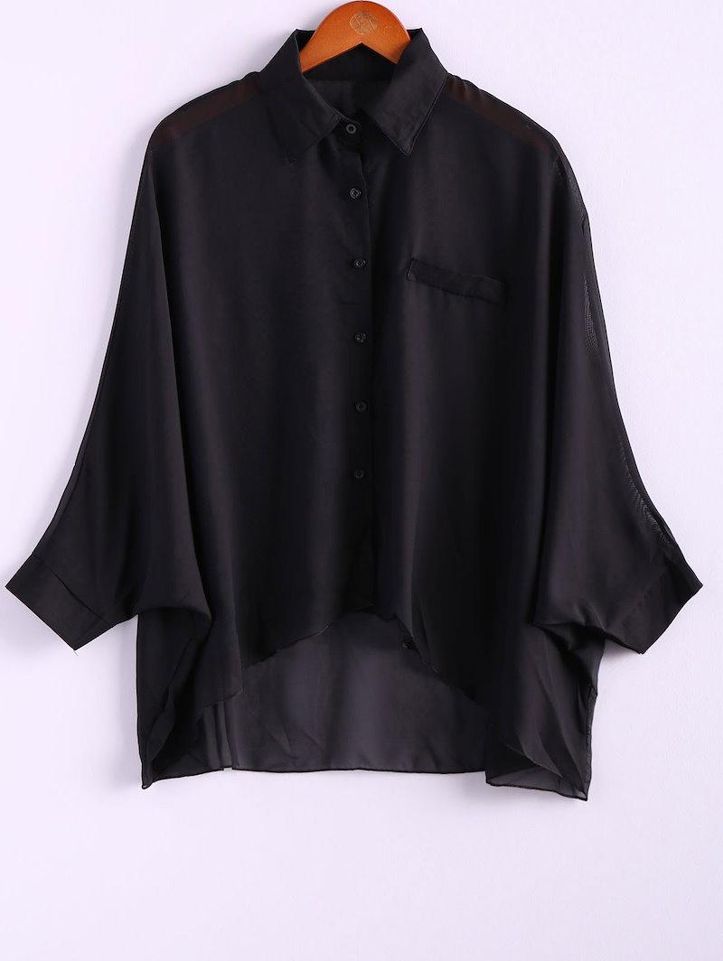魅力と遠近法女性のための非対称裾バットスリーブシフォンシャツ