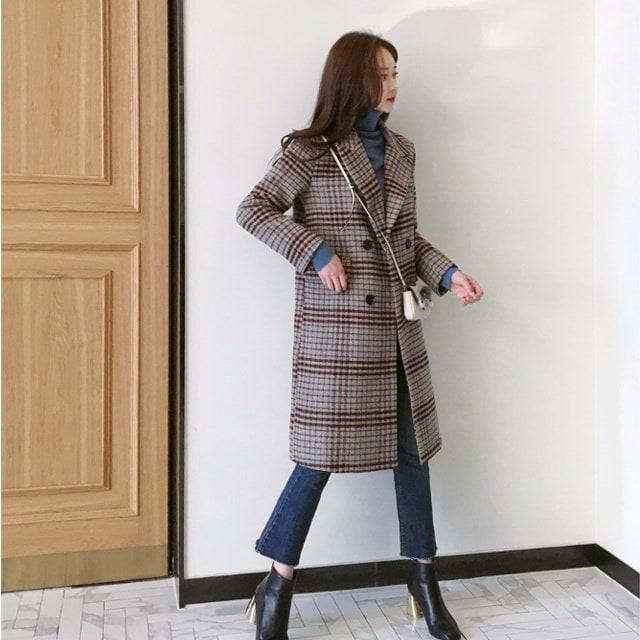 パープルレットチェックコートkorean fashion style