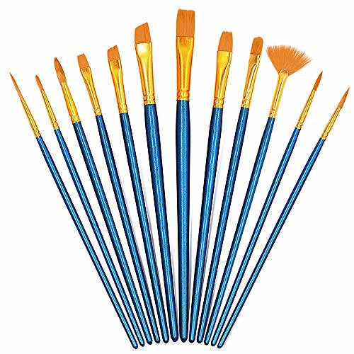 G-Color 画材筆 ペイント ブラシ 画筆 アクリル筆 12本セット 水彩筆 油絵筆 丸筆 平型筆 短毛筆 (ブルー)