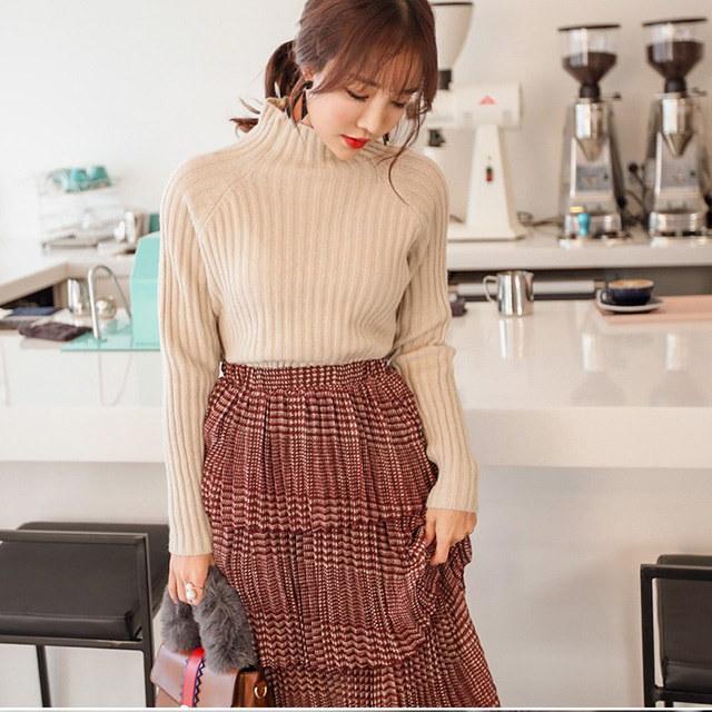 ヒヒ半ポーラ段ボールニットティーデイリールックデイリーバックkorea women fashion style