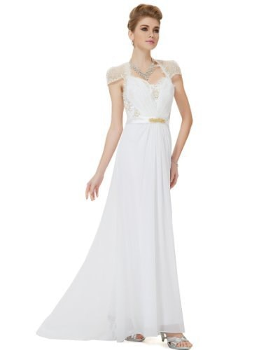 HE09867WH18, White, 16US, Ever Pretty Elegant Evening Dresses For Women 09867