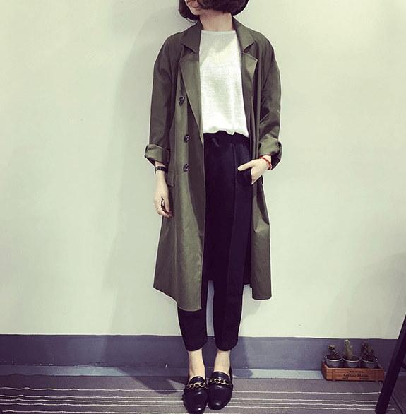 2017春の新しい韓国の服の気質のファッションダブルブレスト長袖ロングコートコートコートジーンズの潮