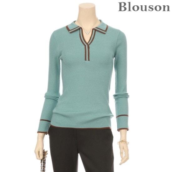 ブルルジョンブルルジョンスリットカラ配色ラインニットB1712KN231D ニット/セーター/ニット/韓国ファッション