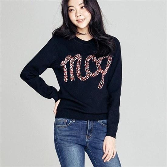 メグジェイMAGJAY行き来するようにメグジェイポムポムレタリングニートJ92PNT189 ニット/セーター/ニット/韓国ファッション