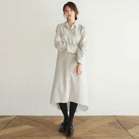 デイリー・マンデーBasic long shirts onepieceワンピース 綿ワンピース/ 韓国ファッション