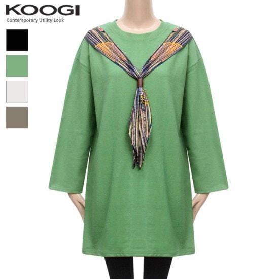 釘宮スカーフ配色ワンピースKL1OP118A 綿ワンピース/ 韓国ファッション