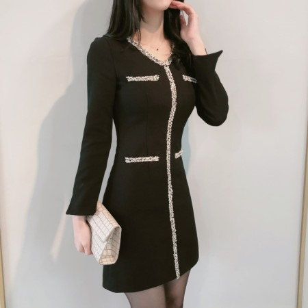 Coco Tweed Trim Winter Dress Korean fashion style