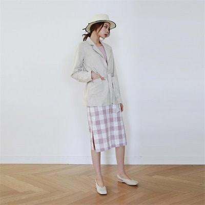 [送料無料]デイリー・マンデーGingham check midi skirtスカート 女性のスカート/ロングスカート/韓国ファッション