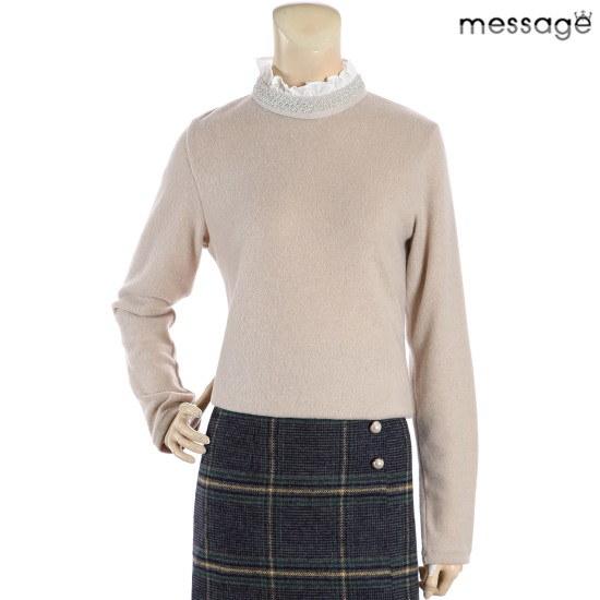 メッセージビジュ装飾ネクプリル・ニット ニット/セーター/カラーニット/韓国ファッション