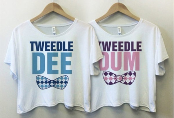 Women Fashion Casual Latest T-shirt Tweedle Dee Tweedle Dum Printed Best Friends Short Sleeve Crop T