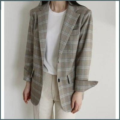 [表示エル]ブルーム大きなチェックJK /テーラードジャケット/ 韓国ファッション