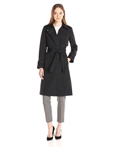 Theory Womens Oaklane Tech Twill Trench Coat, Navy, Small