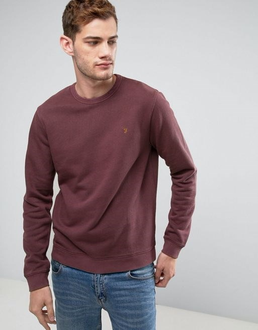 Farah Pickwell Slim Fit Garment Dyed Sweat in Red