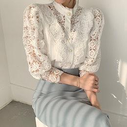 ✨DRESSCAFE✨[韓国ファッション] ♥ Limited item! ♥ (3color) パール編みレースブラウス
